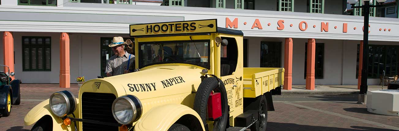 Art Deco Masonic Hotel Napier Accommodation Hooters Classic or Vintage Car Tour